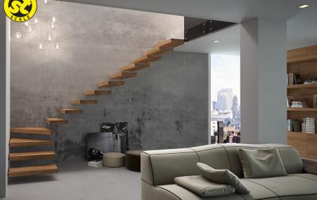 Scala in legno massello con attacchi a parete