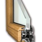Sezione infissi in alluminio-legno con fermavetro
